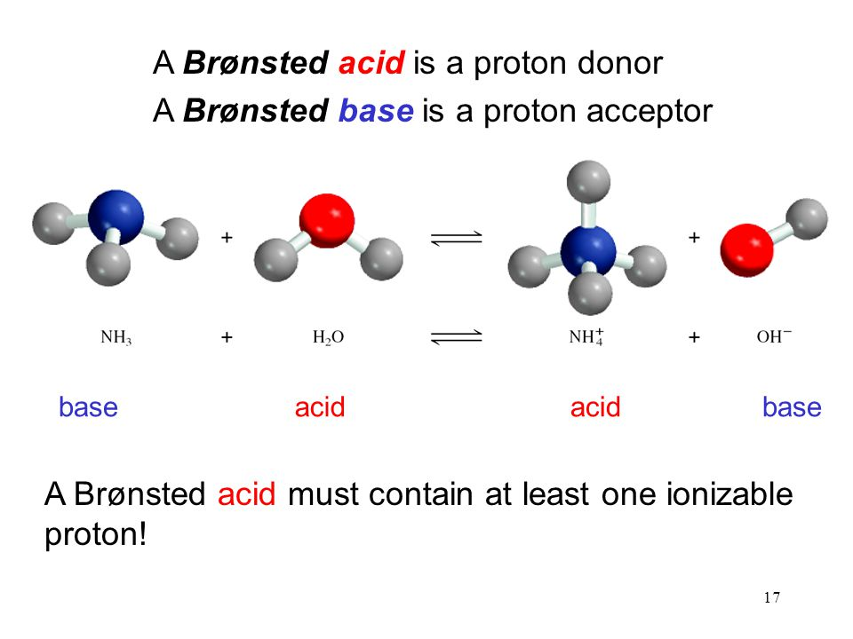 A Brønsted acid is a proton donor A Brønsted base is a proton acceptor