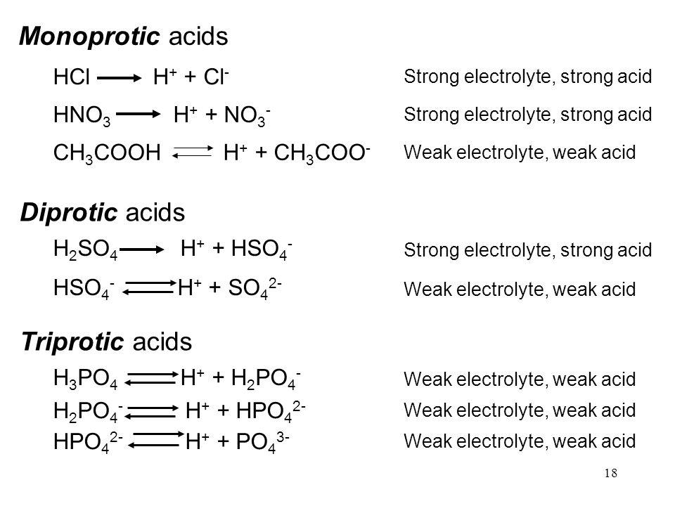 Monoprotic acids Diprotic acids Triprotic acids HCl H+ + Cl-