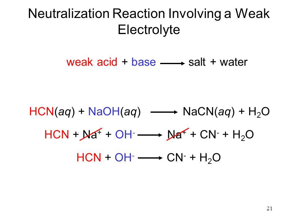 Neutralization Reaction Involving a Weak Electrolyte