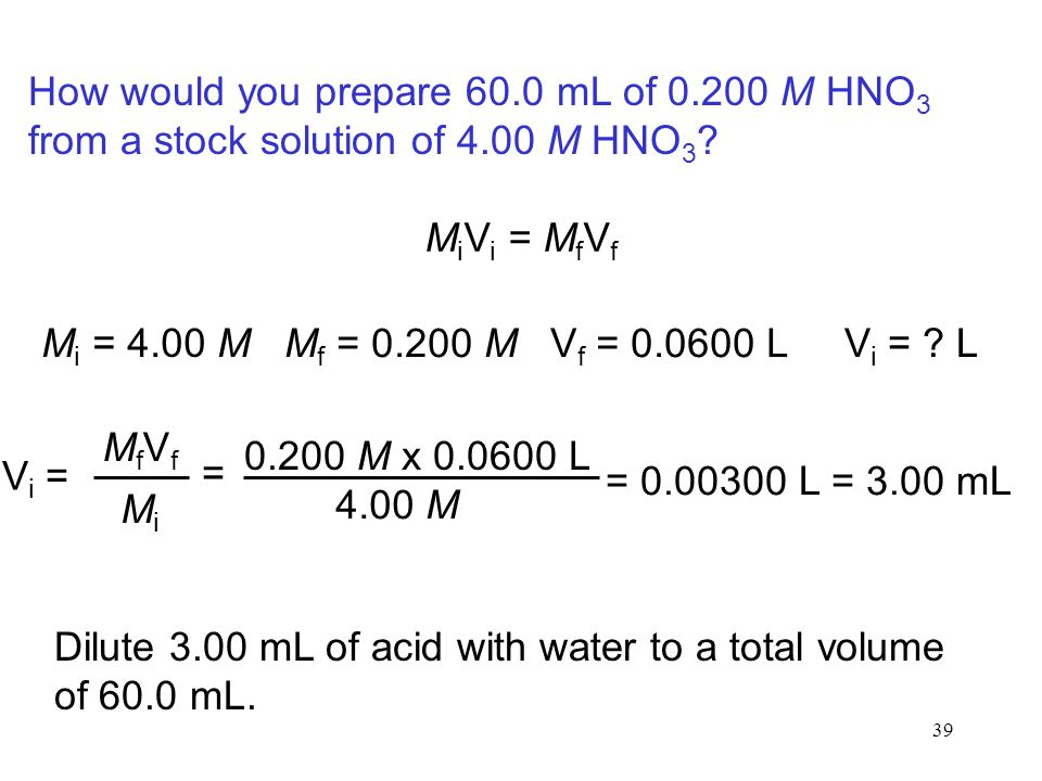 How would you prepare 60. 0 mL of 0