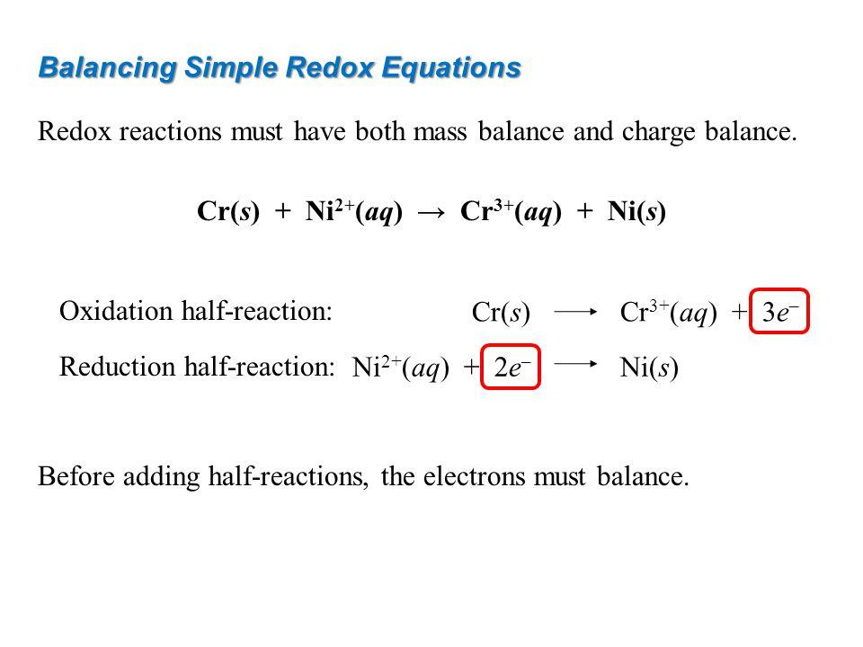 Cr(s) + Ni2+(aq) → Cr3+(aq) + Ni(s)