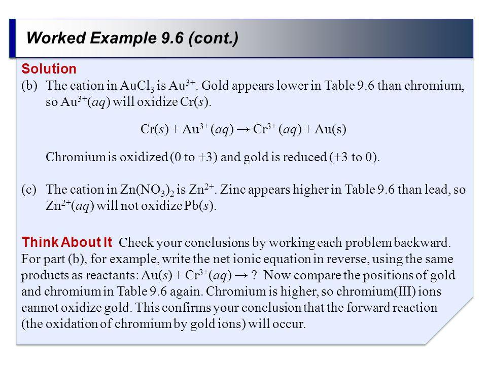 Cr(s) + Au3+ (aq) → Cr3+ (aq) + Au(s)