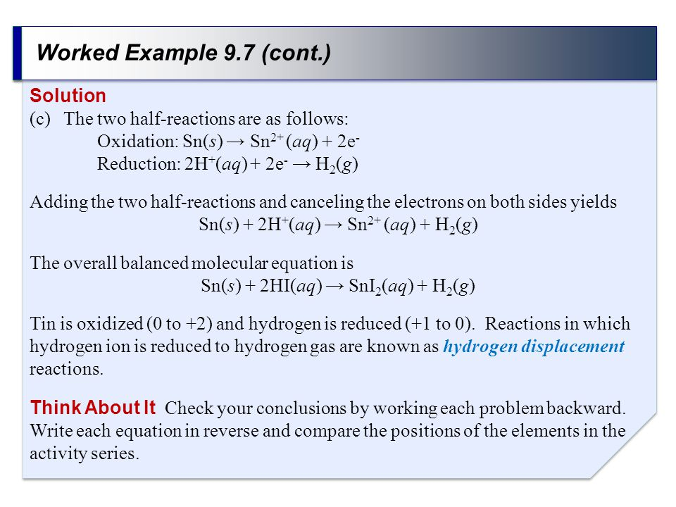 Worked Example 9.7 (cont.) Solution