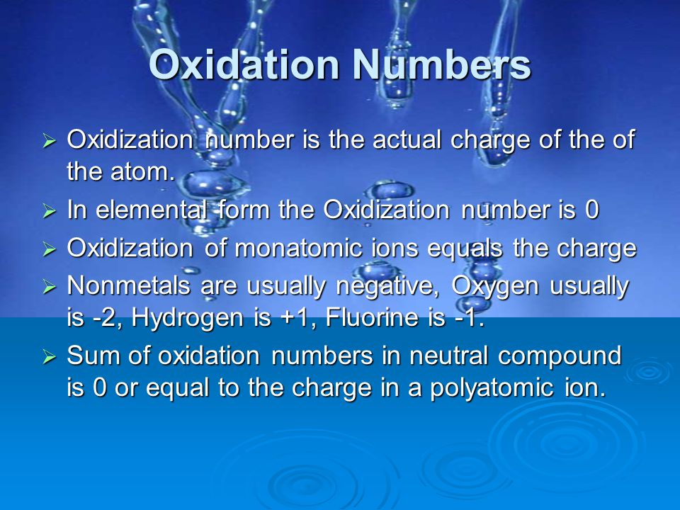 Oxidation Numbers Oxidization number is the actual charge of the of the atom. In elemental form the Oxidization number is 0.