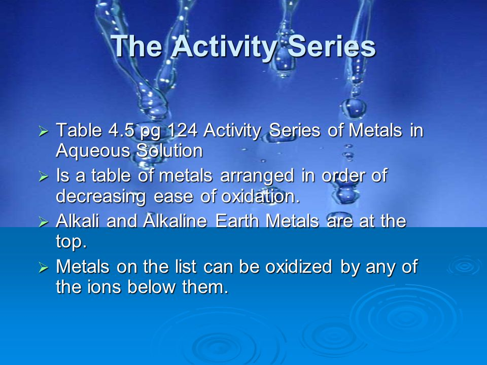 The Activity Series Table 4.5 pg 124 Activity Series of Metals in Aqueous Solution.