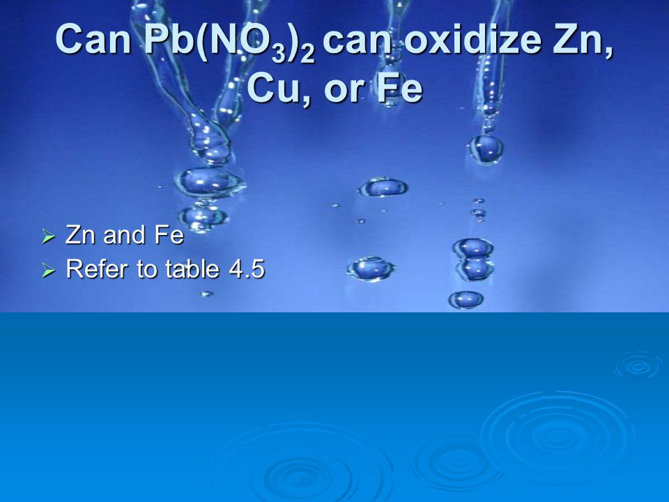 Can Pb(NO3)2 can oxidize Zn, Cu, or Fe
