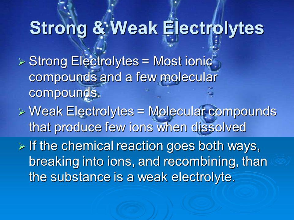 Strong & Weak Electrolytes