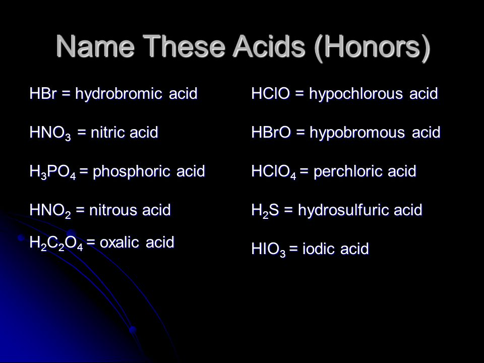 Name These Acids (Honors)