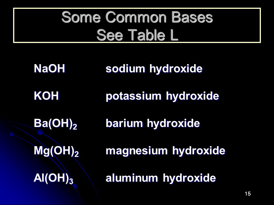 Some Common Bases See Table L