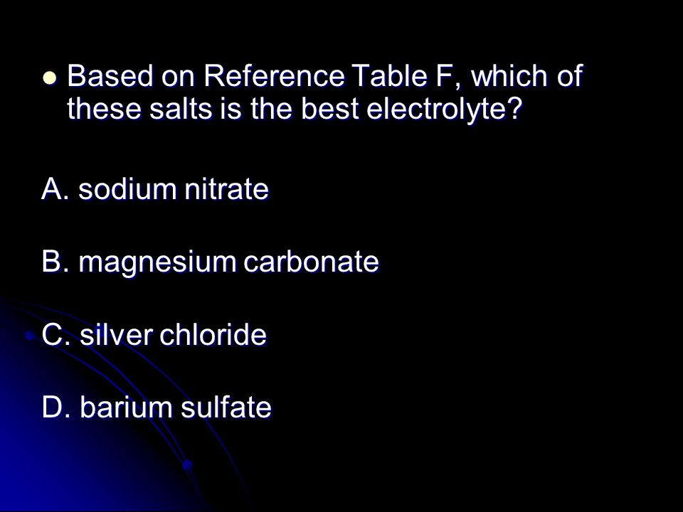 Based on Reference Table F, which of these salts is the best electrolyte