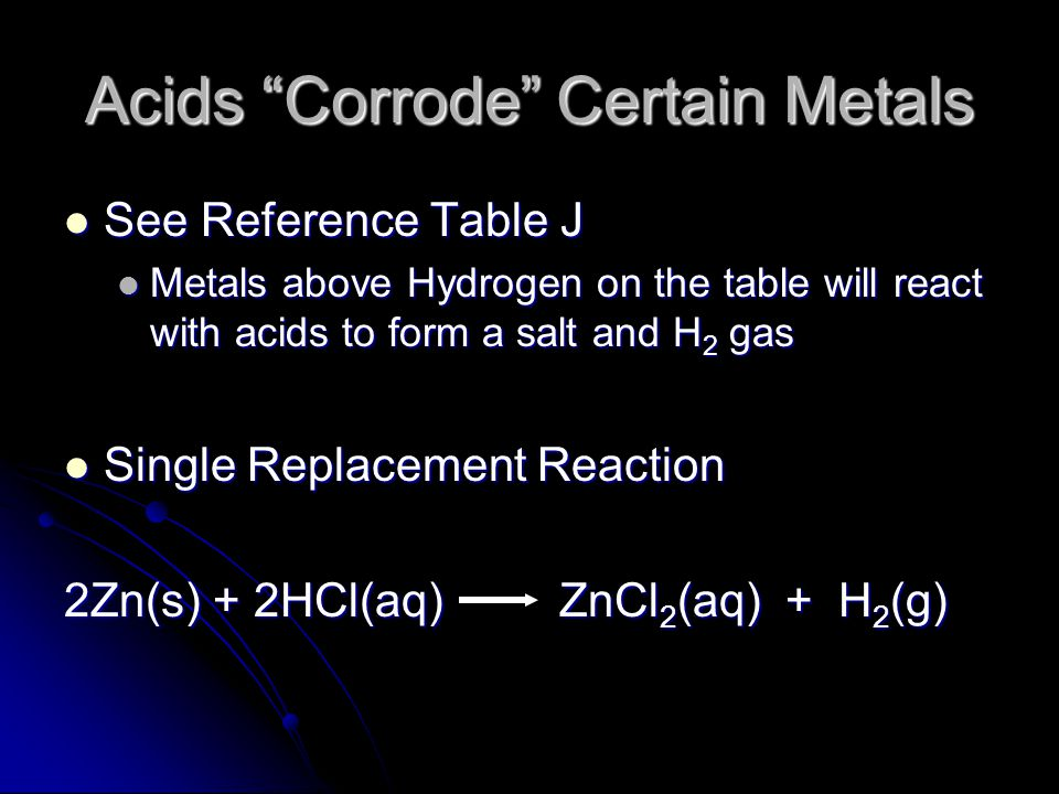 Acids Corrode Certain Metals