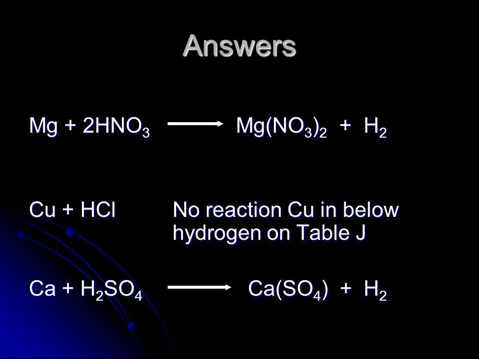 Answers Mg + 2HNO3 Mg(NO3)2 + H2