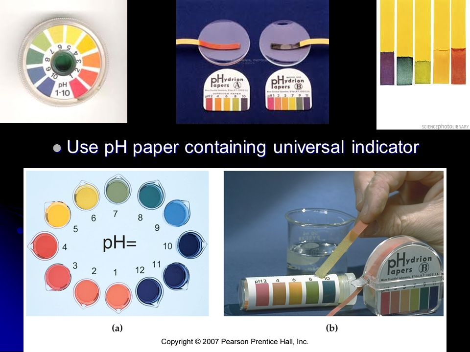 Use pH paper containing universal indicator