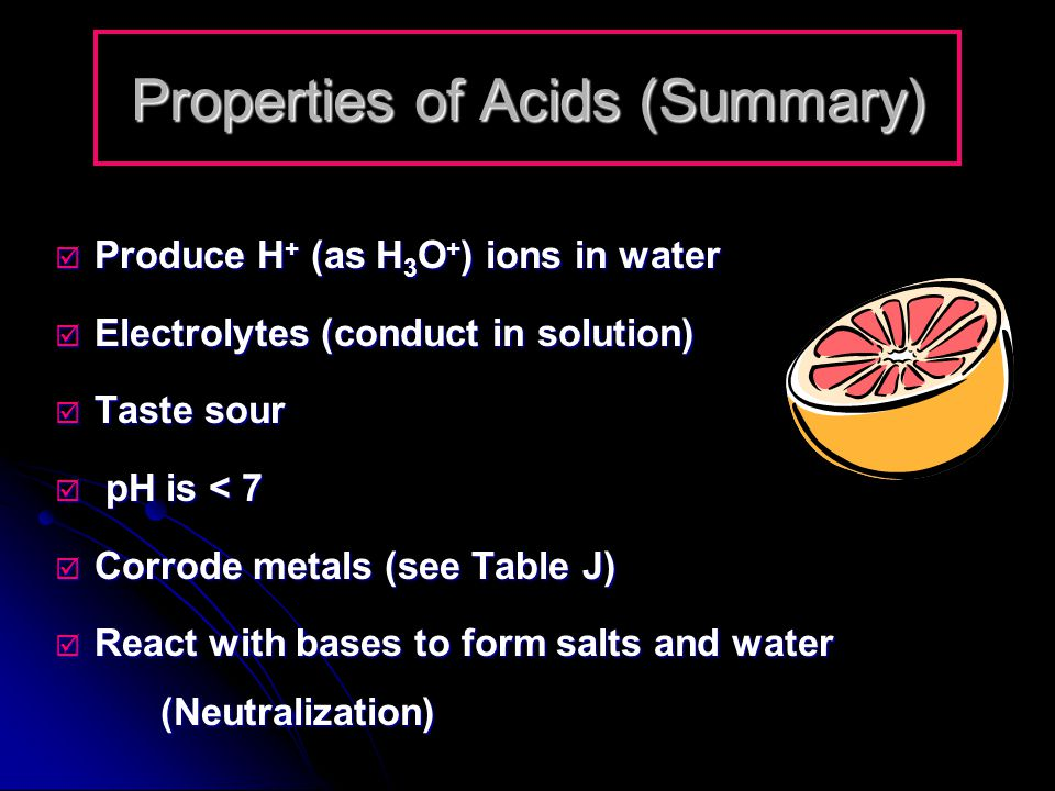 Properties of Acids (Summary)
