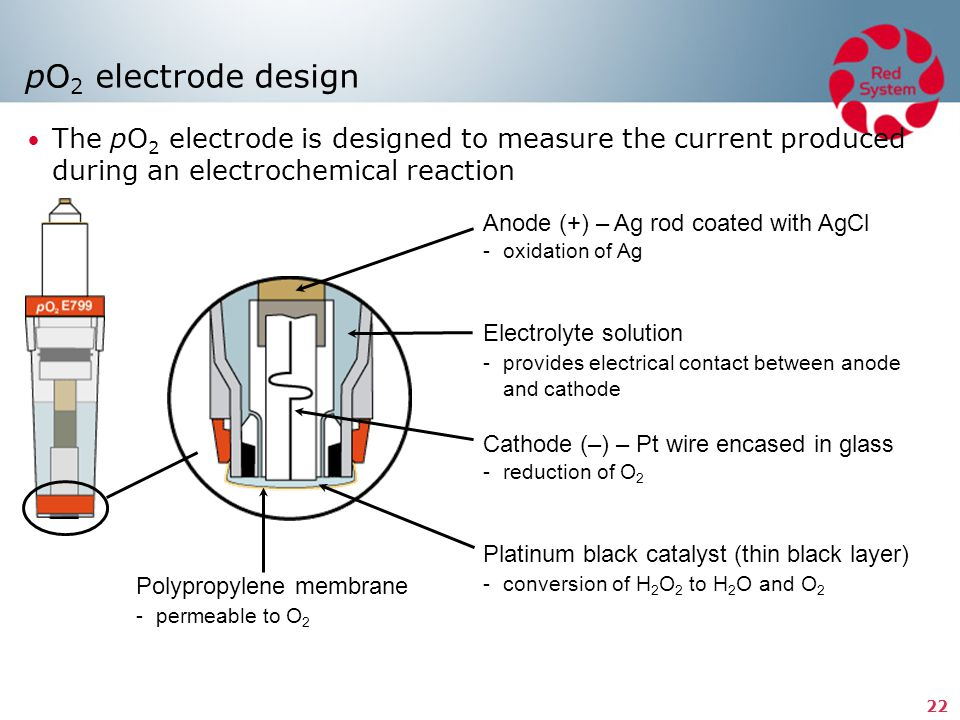pO2 electrode design The pO2 electrode is designed to measure the current produced during an electrochemical reaction.