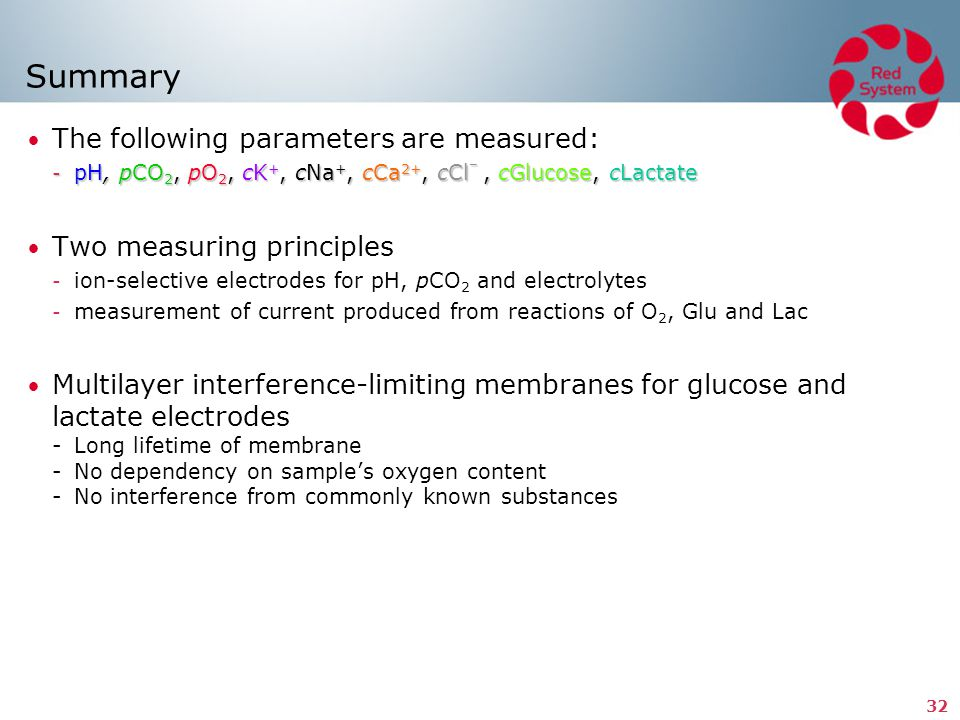 Summary The following parameters are measured: