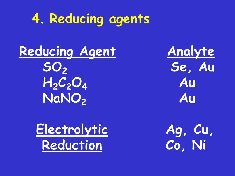 4. Reducing agents Reducing Agent Analyte. SO2 Se, Au. H2C2O4 Au. NaNO2 Au.