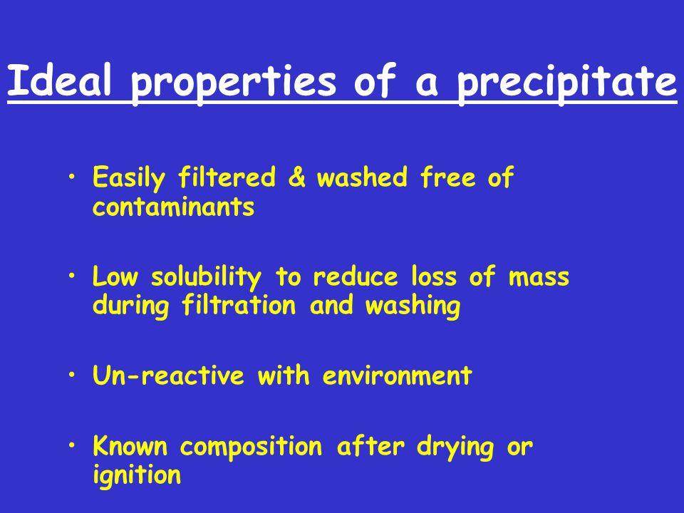 Ideal properties of a precipitate