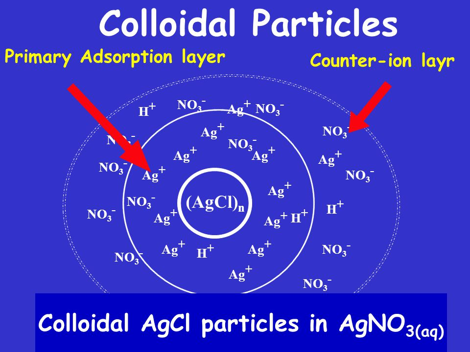 Colloidal AgCl particles in AgNO3(aq)