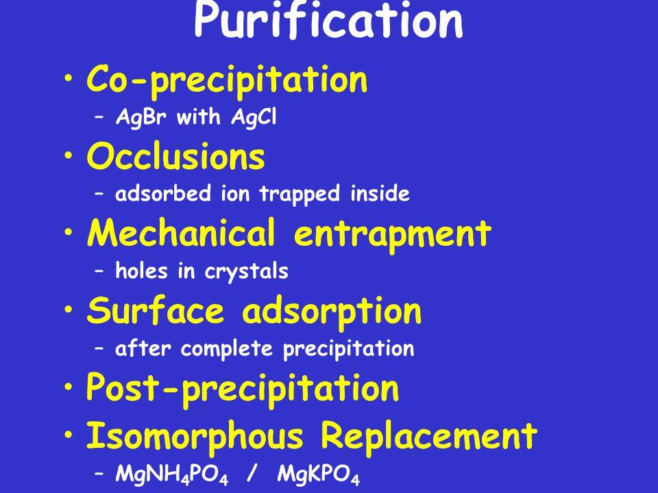 Purification Co-precipitation Occlusions Mechanical entrapment