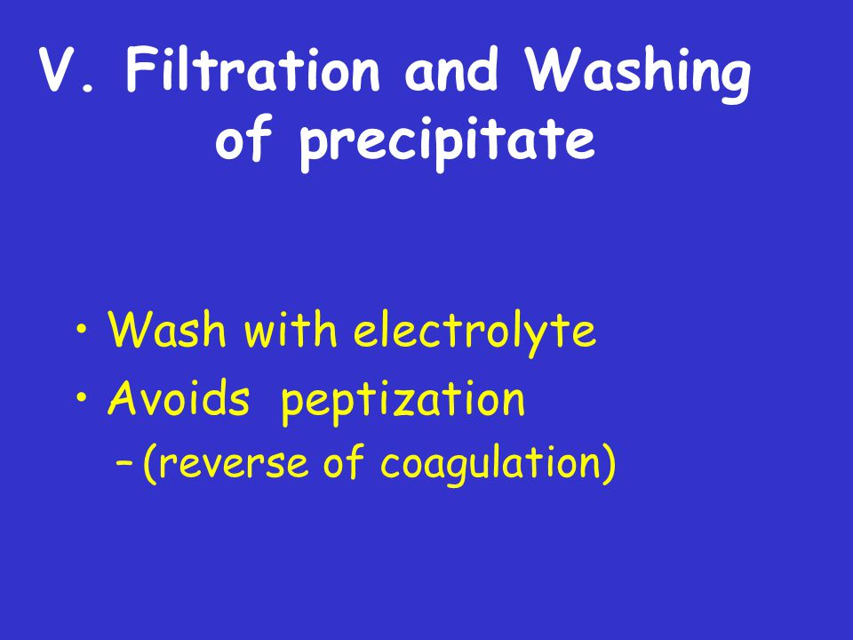 V. Filtration and Washing of precipitate