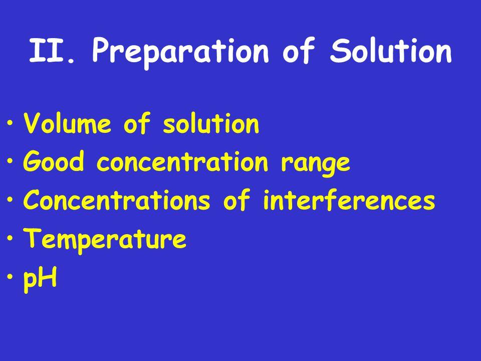 II. Preparation of Solution