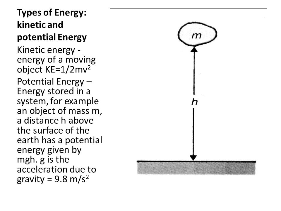 Types of Energy: kinetic and potential Energy
