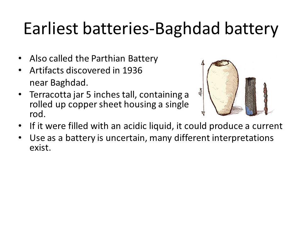 Earliest batteries-Baghdad battery