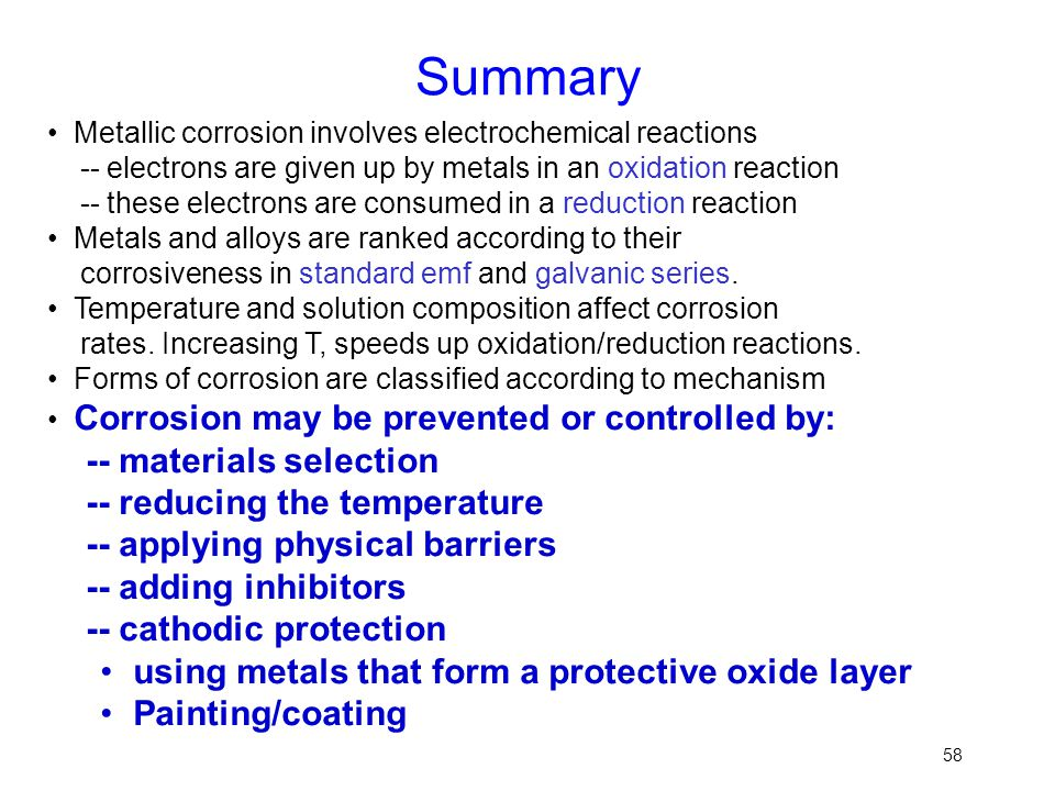 Summary -- materials selection -- reducing the temperature