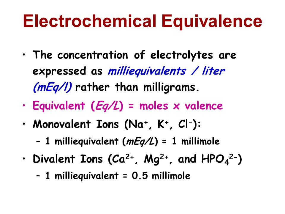 Electrochemical Equivalence