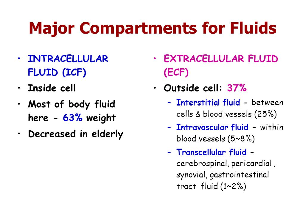 Major Compartments for Fluids