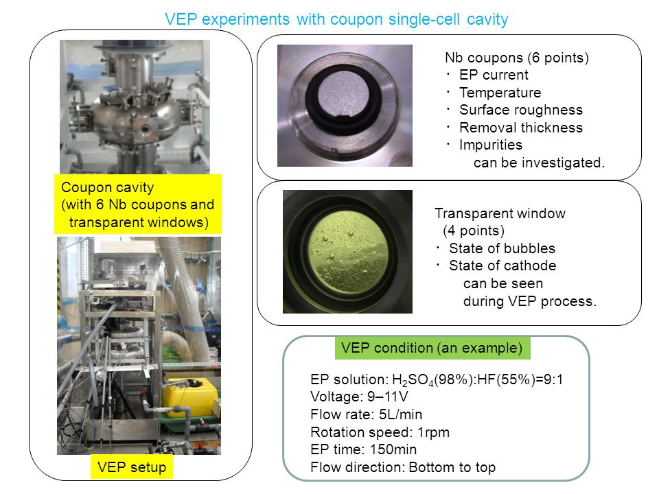 VEP experiments with coupon single-cell cavity