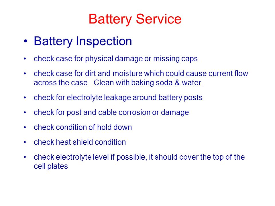 Battery Service Battery Inspection