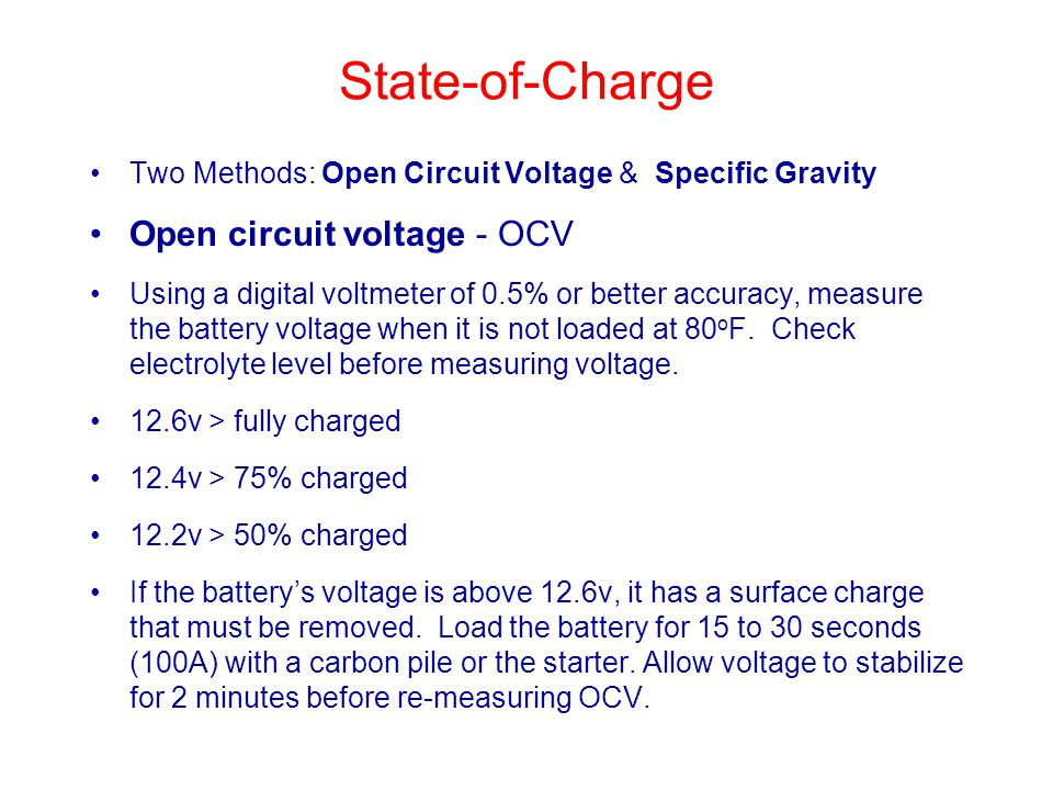 State-of-Charge Open circuit voltage - OCV