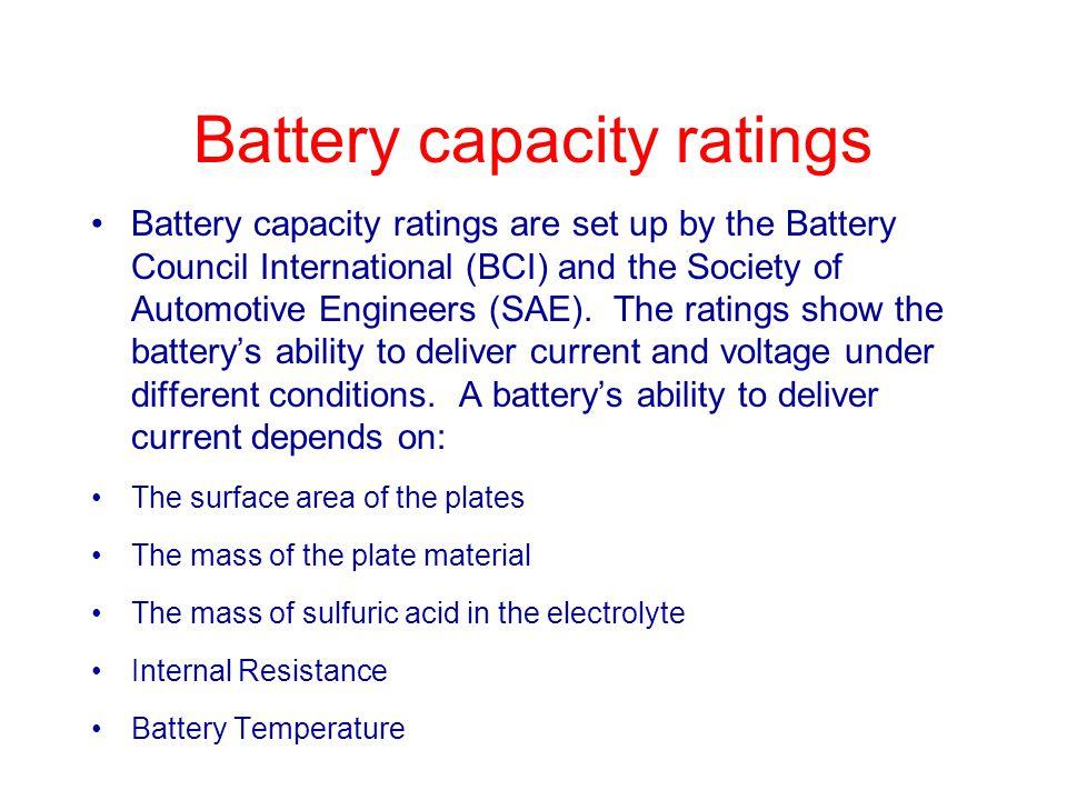 Battery capacity ratings