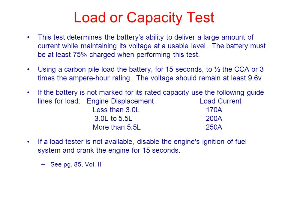 Load or Capacity Test
