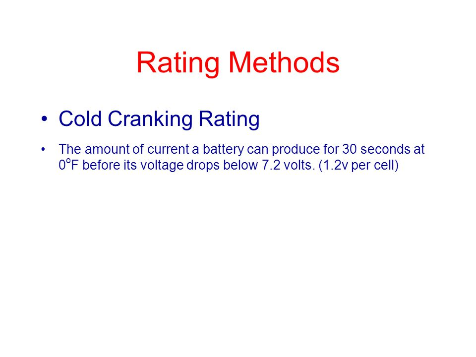 Rating Methods Cold Cranking Rating