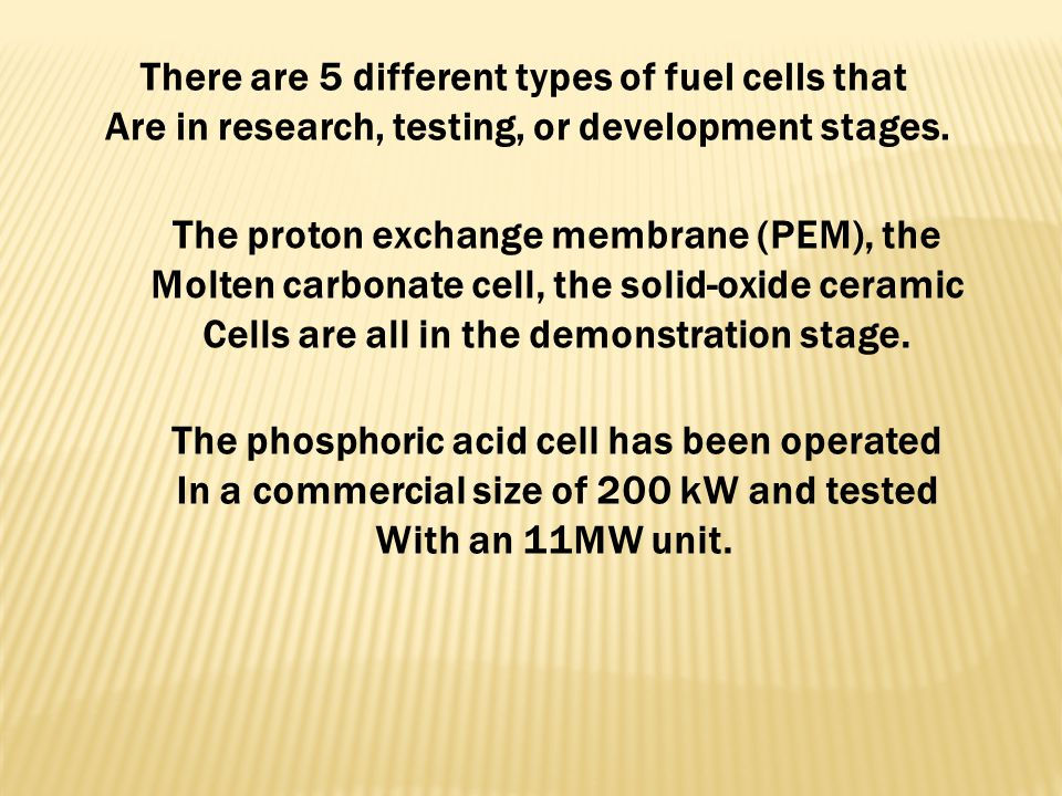 There are 5 different types of fuel cells that