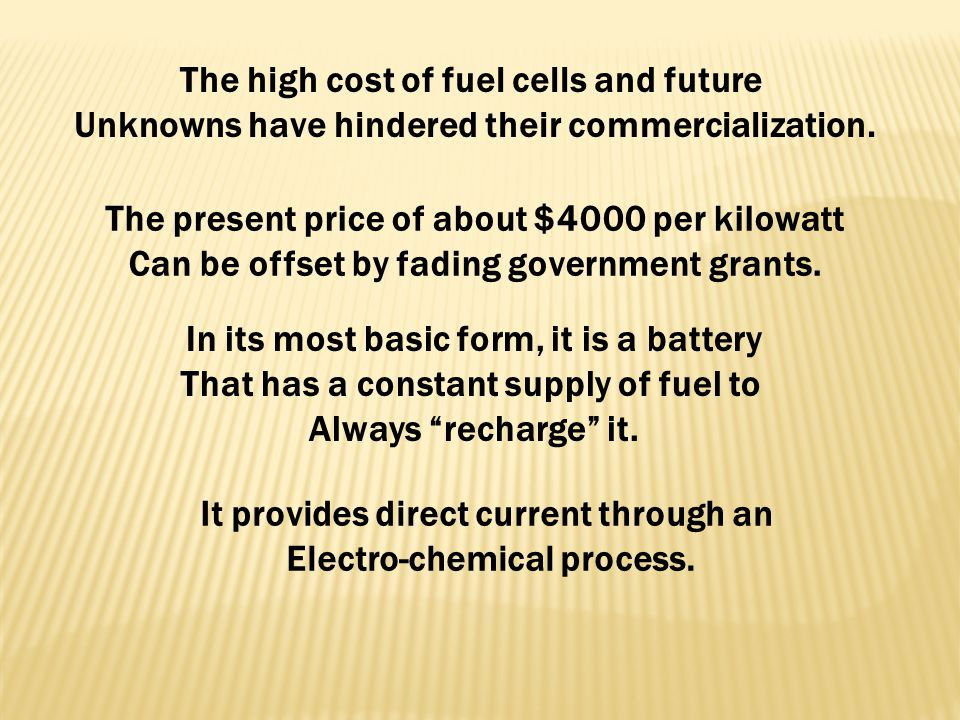 The high cost of fuel cells and future
