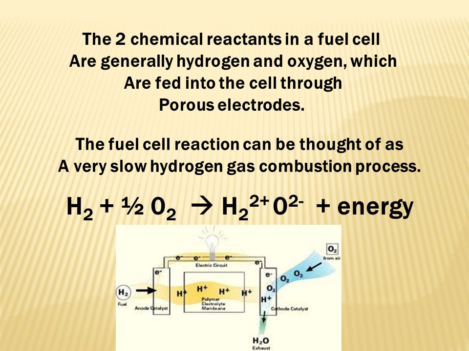 H2 + ½ 02  H22+ 02- + energy The 2 chemical reactants in a fuel cell
