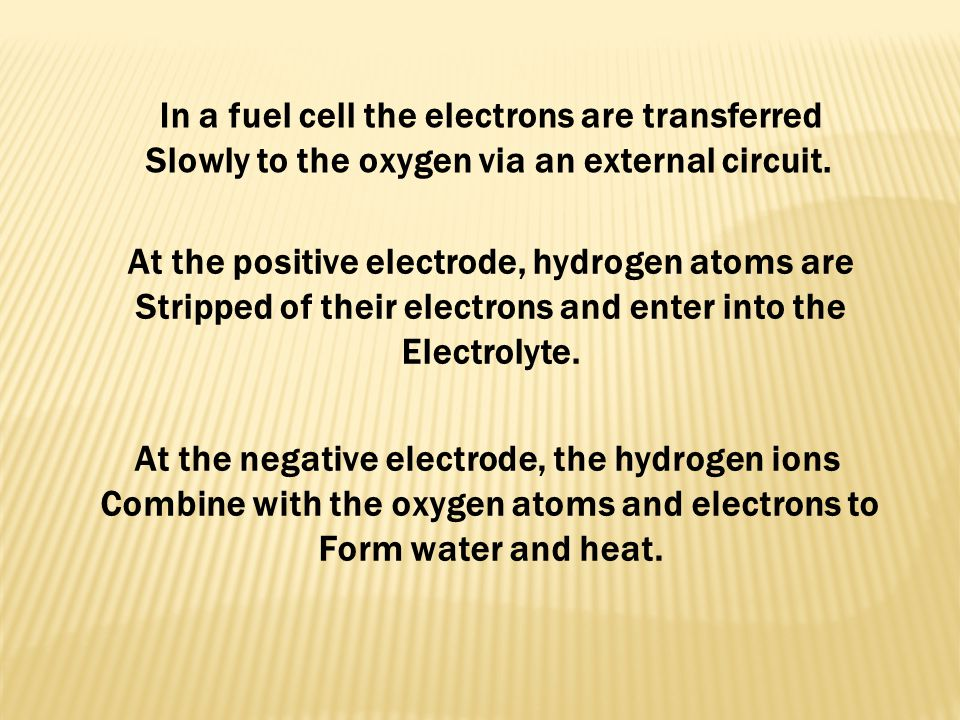 In a fuel cell the electrons are transferred