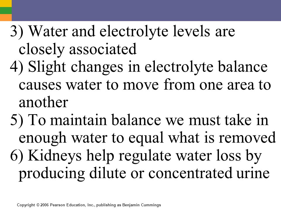 3) Water and electrolyte levels are closely associated