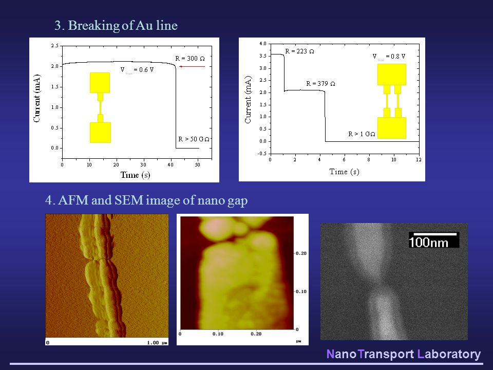 3. Breaking of Au line 4. AFM and SEM image of nano gap