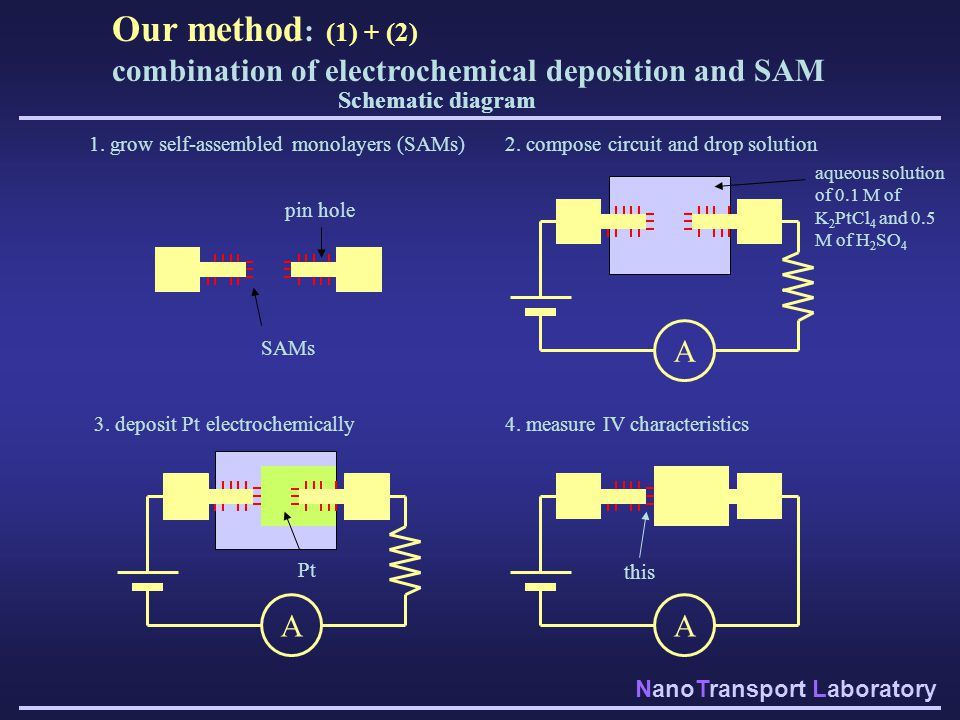 Our method: (1) + (2) combination of electrochemical deposition and SAM. Schematic diagram. 1. grow self-assembled monolayers (SAMs)