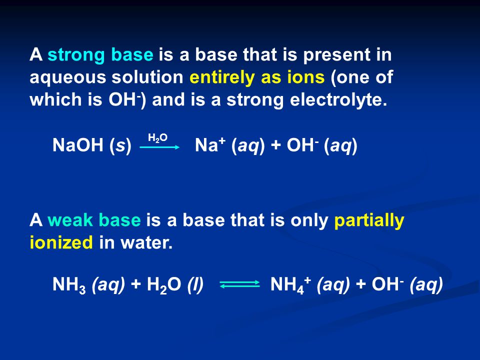 NaOH (s) Na+ (aq) + OH- (aq)