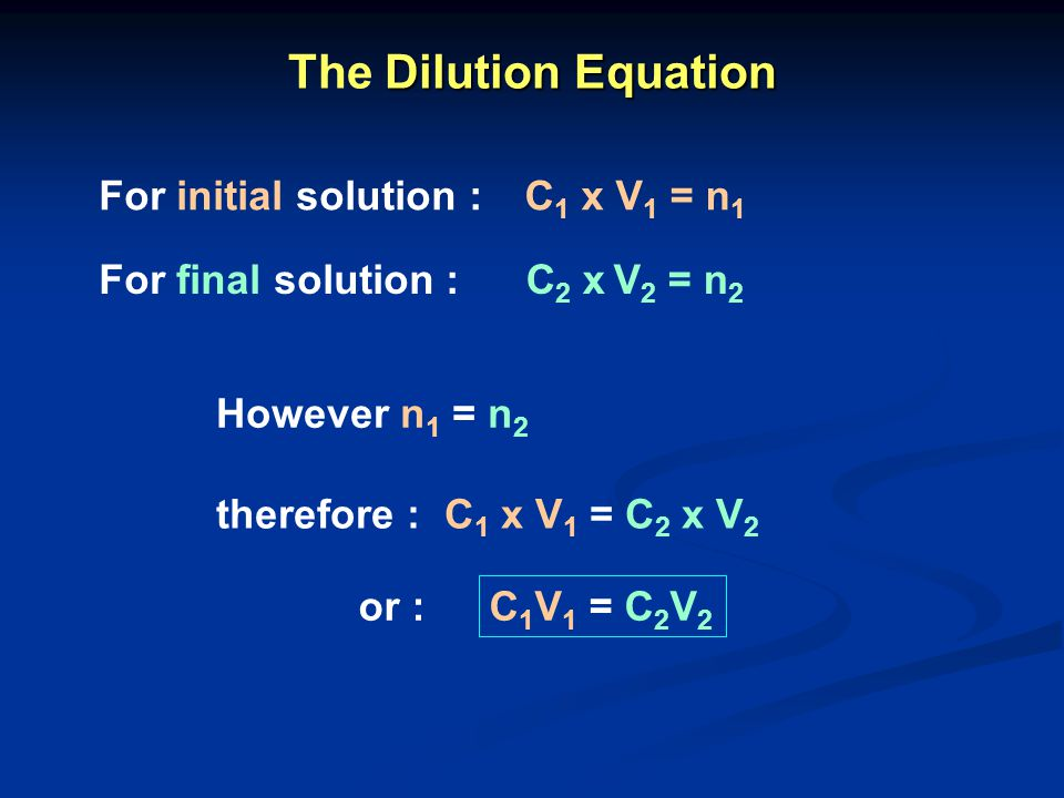 The Dilution Equation For initial solution : C1 x V1 = n1
