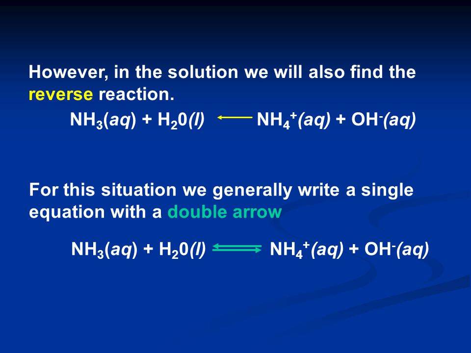However, in the solution we will also find the reverse reaction.