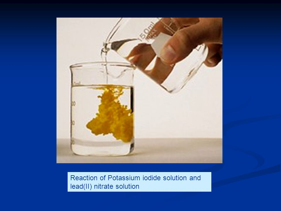 Reaction of Potassium iodide solution and lead(II) nitrate solution