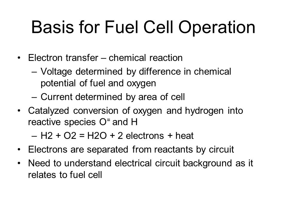 Basis for Fuel Cell Operation