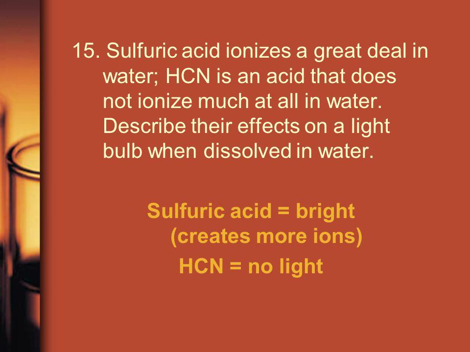 Sulfuric acid = bright (creates more ions)